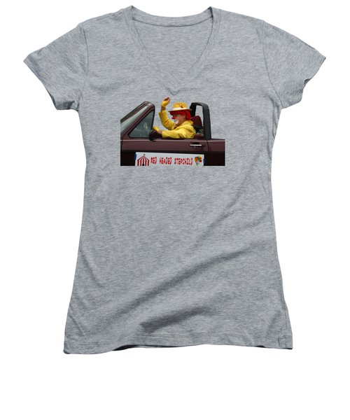 Christmas Parade Clown In Car Women's V-Neck (Athletic Fit)