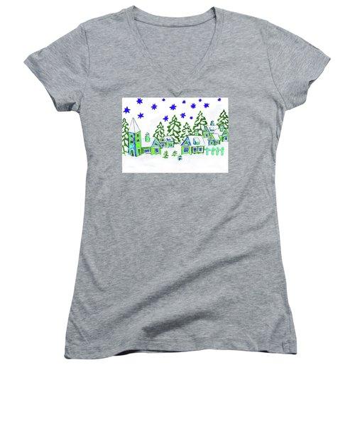 Christmas Picture, Painting Women's V-Neck T-Shirt (Junior Cut) by Irina Afonskaya