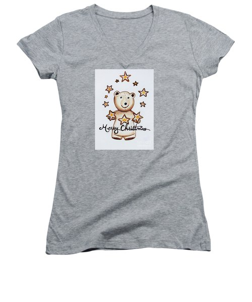 Christmas Stars Women's V-Neck T-Shirt (Junior Cut) by Elizabeth Robinette Tyndall