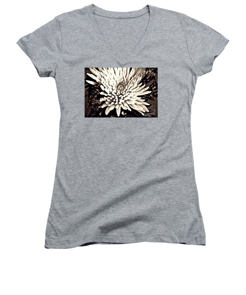 Women's V-Neck T-Shirt (Junior Cut) featuring the photograph Chrysanthemum In Sepia 2  by Sarah Loft