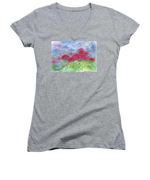 Women's V-Neck T-Shirt (Junior Cut) featuring the painting Chrysanthemums by Cathie Richardson