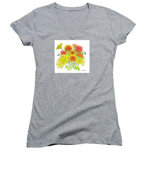 Chrysanthemums Women's V-Neck T-Shirt (Junior Cut) by Deborah Dendler