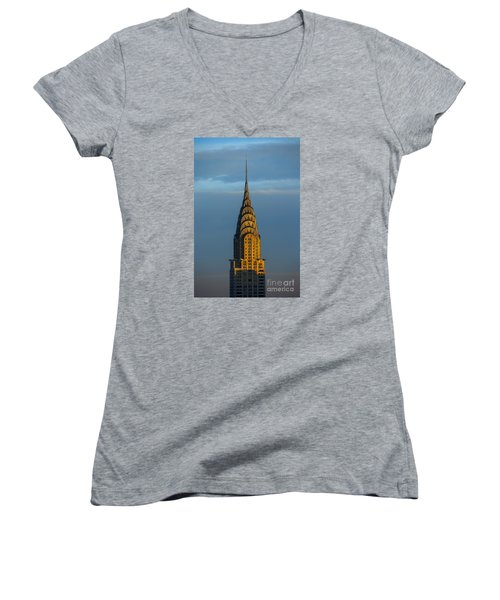 Chrysler Building In The Evening Light Women's V-Neck (Athletic Fit)