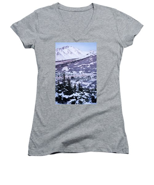Chugach In Alpenglow Women's V-Neck T-Shirt