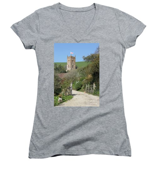 Women's V-Neck T-Shirt (Junior Cut) featuring the photograph Church And The Flag by Linda Prewer