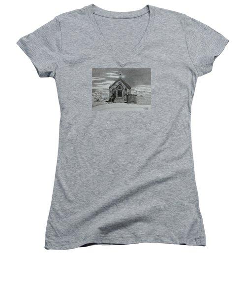Church  At Bodie  Women's V-Neck T-Shirt (Junior Cut) by Tony Clark