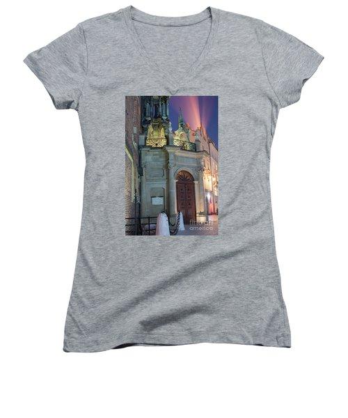 Women's V-Neck T-Shirt (Junior Cut) featuring the photograph Church Door by Juli Scalzi