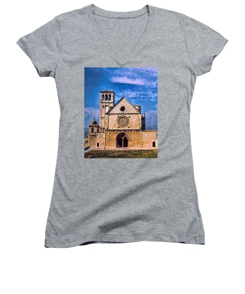 Women's V-Neck T-Shirt (Junior Cut) featuring the photograph Church Of Assisi by Trey Foerster