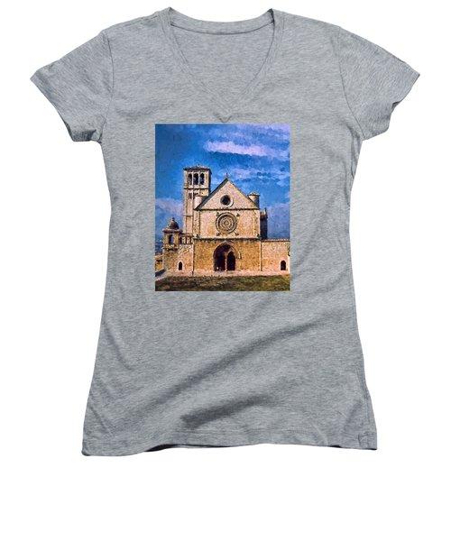 Church Of Assisi Women's V-Neck T-Shirt