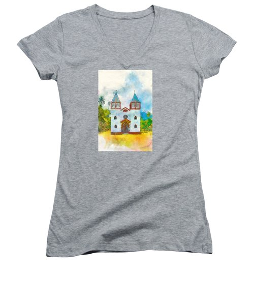 Church Of The Holy Family Women's V-Neck T-Shirt (Junior Cut) by Greg Collins