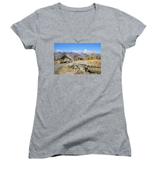 Women's V-Neck T-Shirt (Junior Cut) featuring the photograph Church Of The Transfiguration by Shirley Mitchell
