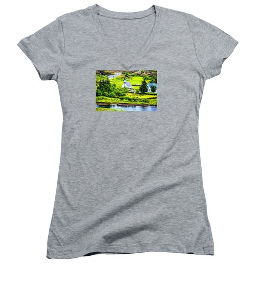 Women's V-Neck T-Shirt (Junior Cut) featuring the photograph Church On The Green by Rick Bragan