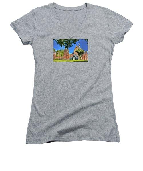 Churchyard Women's V-Neck T-Shirt (Junior Cut) by Nadia Sanowar