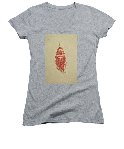 Women's V-Neck T-Shirt (Junior Cut) featuring the painting Cicada Chop by Debbi Saccomanno Chan