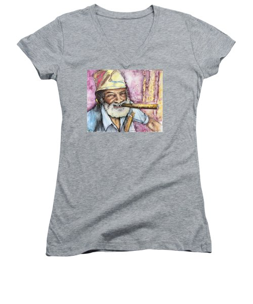 Cigars And Cuba Women's V-Neck (Athletic Fit)