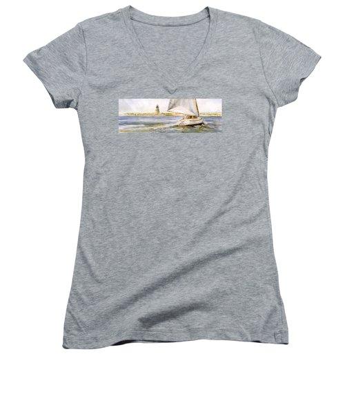 Cimba At Bird Island Light Women's V-Neck T-Shirt (Junior Cut) by P Anthony Visco
