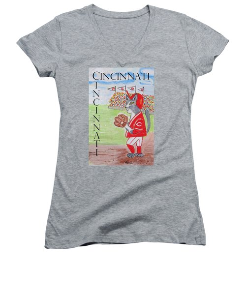 Women's V-Neck T-Shirt (Junior Cut) featuring the painting Cinci Reds Cat by Diane Pape