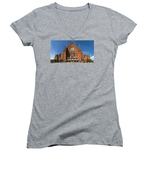 Women's V-Neck T-Shirt (Junior Cut) featuring the photograph Cincinnati Music Hall by Rob Amend