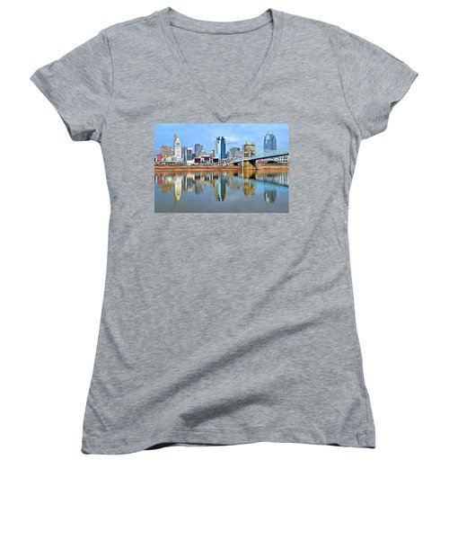 Cincinnati Ohio Times Two Women's V-Neck (Athletic Fit)