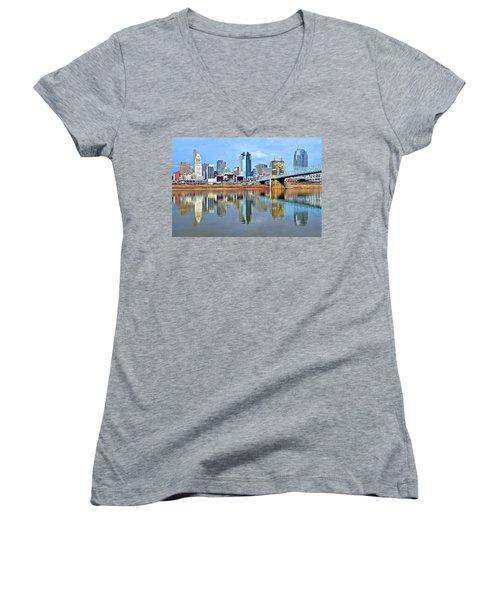 Cincinnati Ohio Times Two Women's V-Neck T-Shirt (Junior Cut)