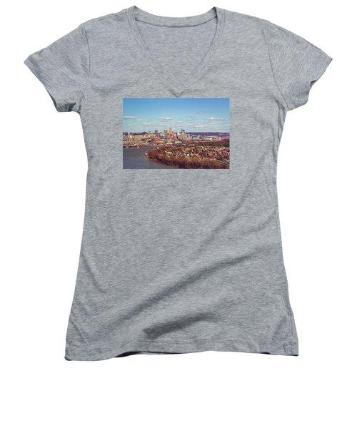 Cincinnati Skyline 2 Women's V-Neck T-Shirt