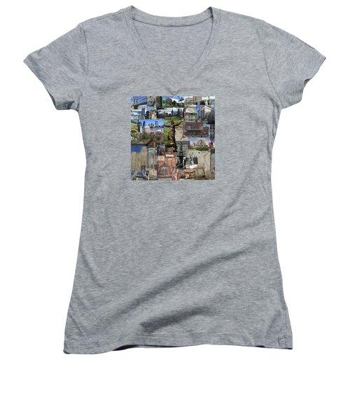 Cincinnati's Favorite Landmarks Women's V-Neck T-Shirt (Junior Cut) by Robert Glover