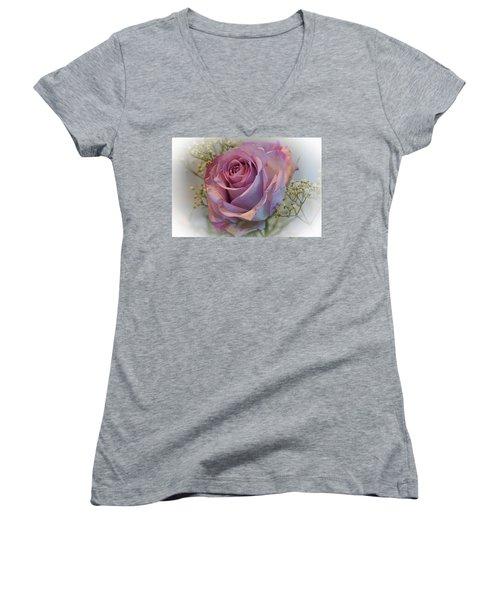 Cindy's Rose Women's V-Neck T-Shirt (Junior Cut) by Judy Johnson