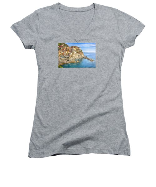 Women's V-Neck T-Shirt (Junior Cut) featuring the photograph Cinque Terre by Brent Durken