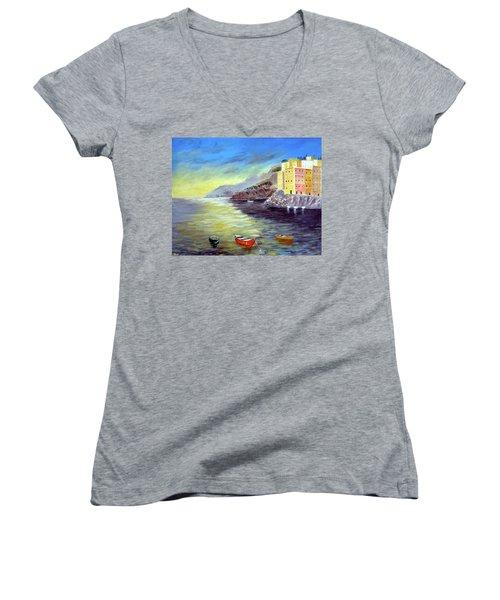Cinque Terre Dreams Women's V-Neck T-Shirt (Junior Cut) by Larry Cirigliano