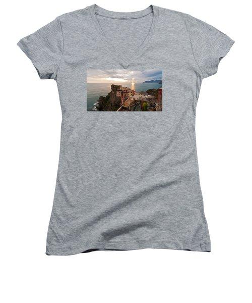 Cinque Terre Tranquility Women's V-Neck T-Shirt