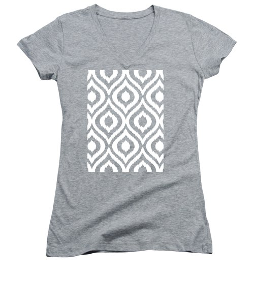 Circle And Oval Ikat In White N03-p0100 Women's V-Neck T-Shirt