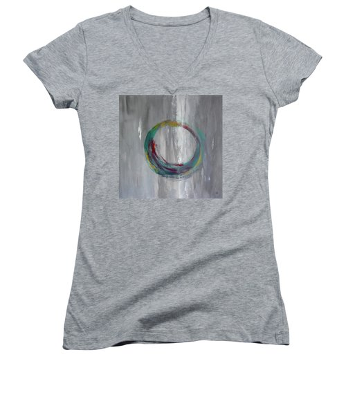 Women's V-Neck T-Shirt (Junior Cut) featuring the painting Vortex by Victoria Lakes