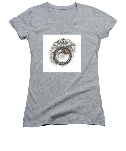 Circle Of Trees Women's V-Neck T-Shirt (Junior Cut) by Wade Brooks