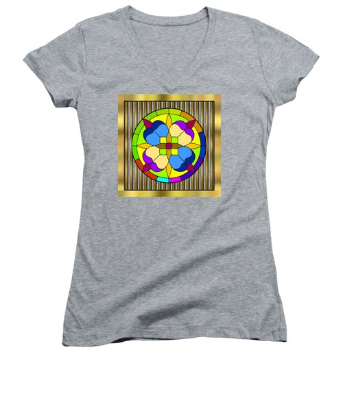 Circle On Bars 3 Women's V-Neck T-Shirt (Junior Cut) by Chuck Staley