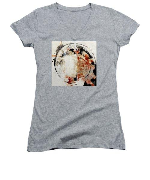 Circles Of War Women's V-Neck T-Shirt (Junior Cut) by Gallery Messina