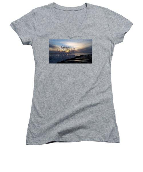 Circling Sunset Women's V-Neck T-Shirt (Junior Cut) by Robert Banach