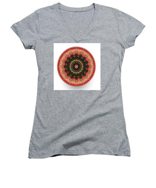 Women's V-Neck T-Shirt (Junior Cut) featuring the digital art Circularium No 2660 by Alan Bennington