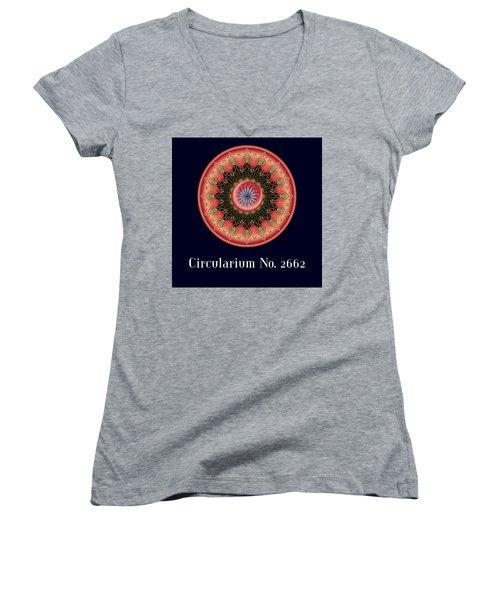 Women's V-Neck T-Shirt (Junior Cut) featuring the digital art Circularium No 2662 by Alan Bennington