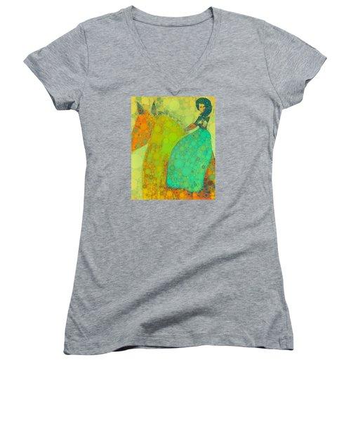Circus Pony 4 Women's V-Neck T-Shirt (Junior Cut) by M  Stuart