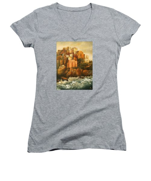 Cinque Terre Lerici Italia Painting Women's V-Neck T-Shirt (Junior Cut) by Vali Irina Ciobanu