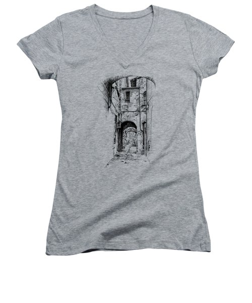 Citta Di Castello Dip Pen Sketch Women's V-Neck