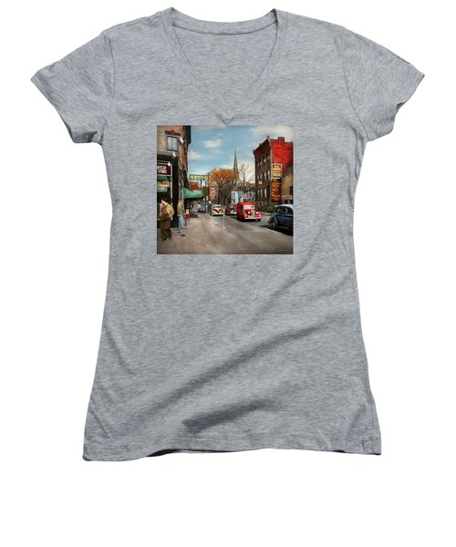 Women's V-Neck T-Shirt (Junior Cut) featuring the photograph City - Amsterdam Ny - Downtown Amsterdam 1941 by Mike Savad