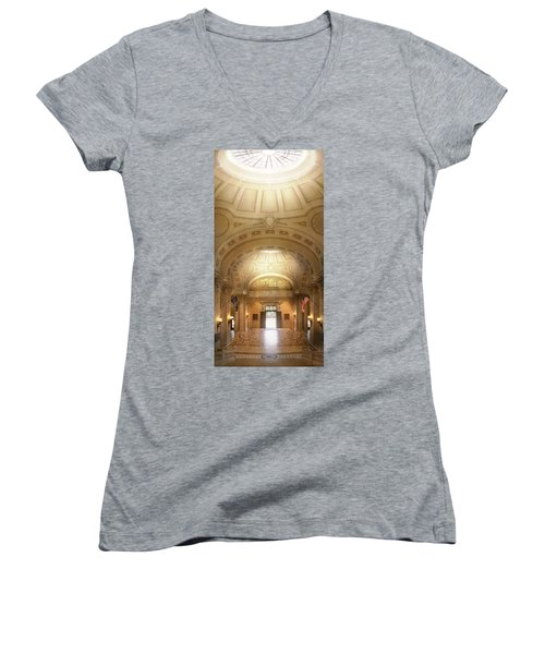 Women's V-Neck T-Shirt featuring the photograph City - Annapolis Md - Bancroft Hall by Mike Savad