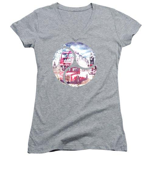 City-art London Red Buses On Westminster Bridge Women's V-Neck T-Shirt (Junior Cut) by Melanie Viola