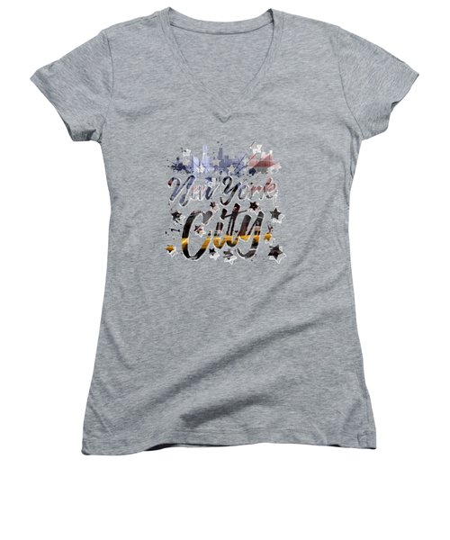 City-art Nyc Composing - Typography Women's V-Neck T-Shirt (Junior Cut) by Melanie Viola