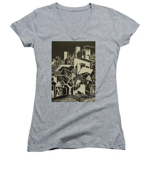 City By Moonlight - Sold Women's V-Neck T-Shirt (Junior Cut) by Judith Espinoza