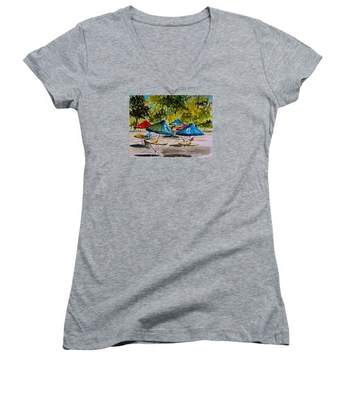 City Cafe Women's V-Neck T-Shirt (Junior Cut) by John Williams