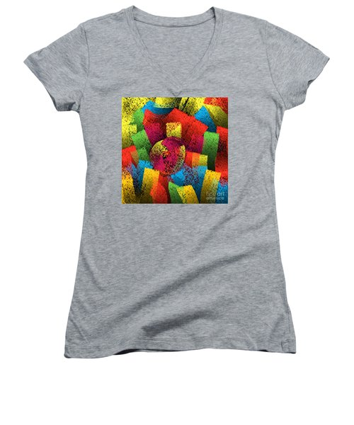 Women's V-Neck T-Shirt featuring the digital art City Center by Silvia Ganora