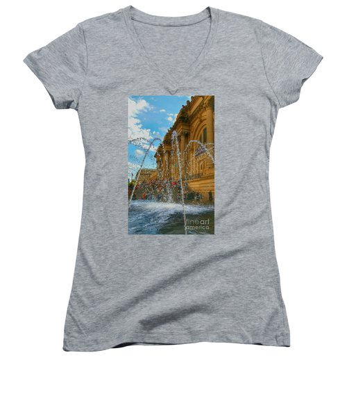 Women's V-Neck T-Shirt (Junior Cut) featuring the photograph City Fountain  by Raymond Earley