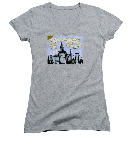 City In Blue Women's V-Neck T-Shirt (Junior Cut) by Dan Twyman